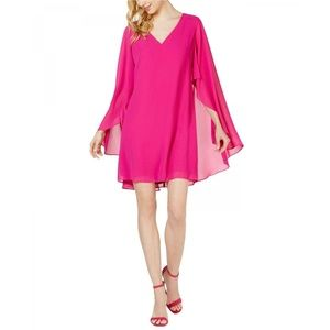 NWT Vince Camuto Chiffon Sheer Cape Dress Pink 4